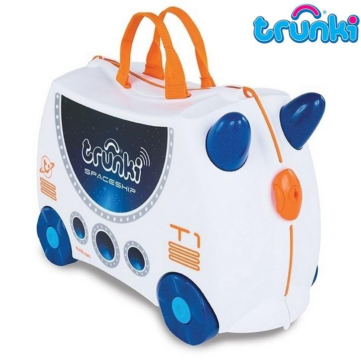 Kuffert til børn Trunki Skye Spaceship hvid