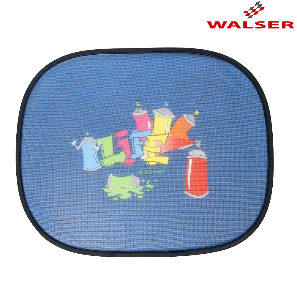 Solskærm til bil Walser Graffiti blå