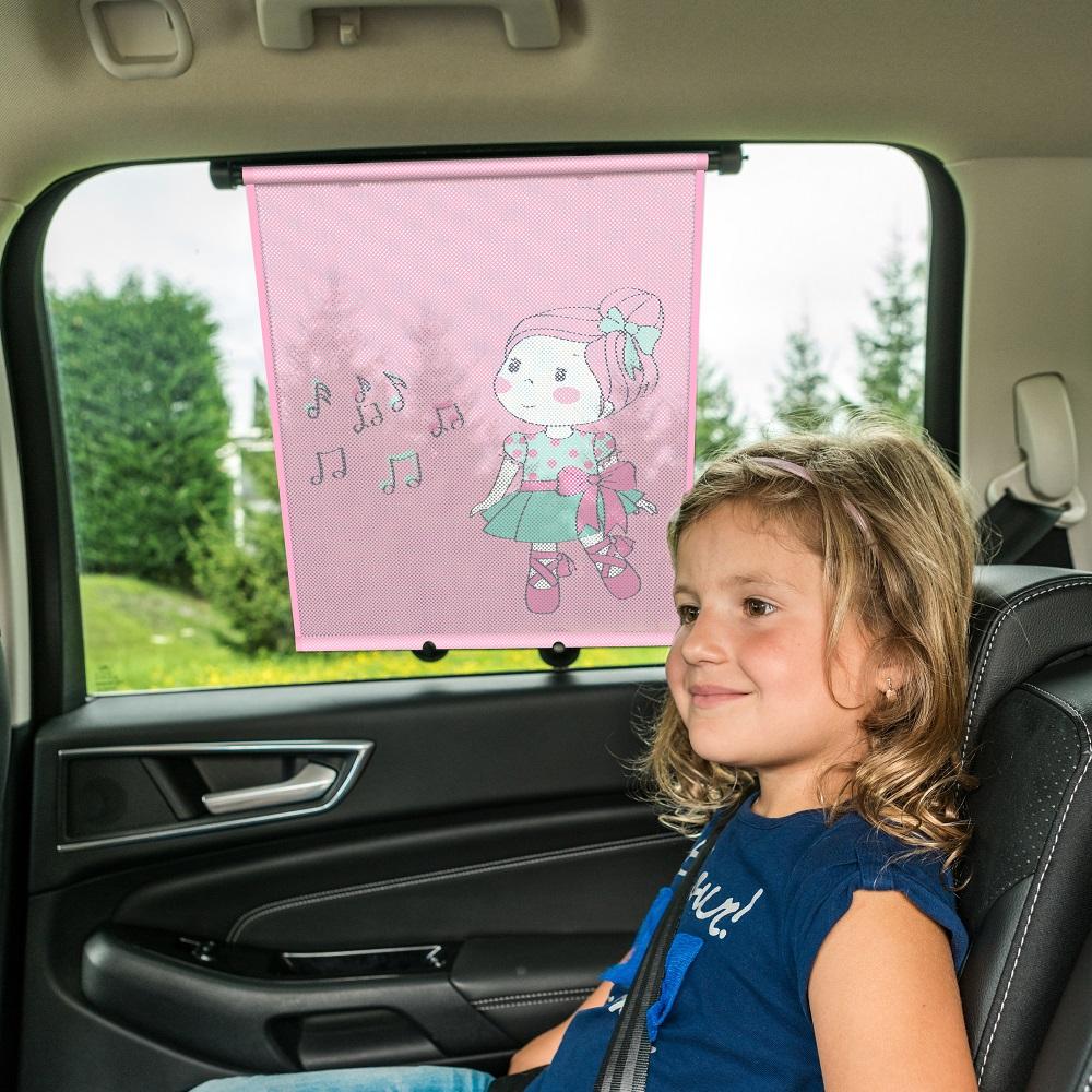 UV rullegardin og solskæarm til bil Walser Happy Ballet lyserød